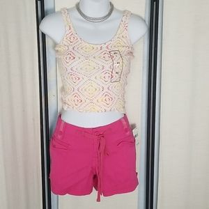 NWT first kiss pink drawstring cargo shorts sz 3